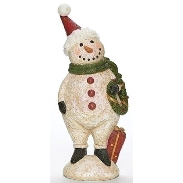 """13"""" White and Red Glittered Plumpy Christmas Snowman Figure with Wreath Tabletop"""
