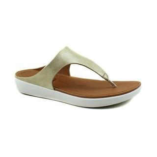 FitFlop Womens Banda II Metallic Gold Leather Toe Thong Flip Flop Sandals