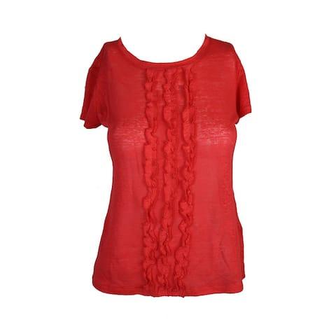 Maison Jules Tomato Red Ruffled T-Shirt XXL