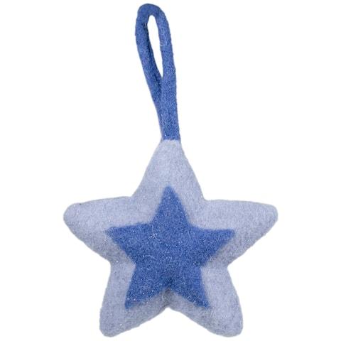 "6.25"" Shades of Blue Felt Star Christmas Ornament"