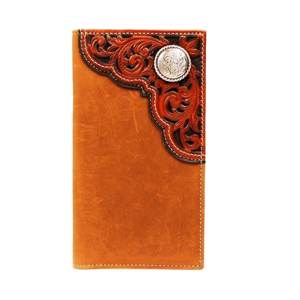 Nocona Western Wallet Men Leather Rodeo Tooled Concho Brown - One size