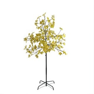 5' LED Lighted Artificial Fall Harvest Yellow Maple Leaf Tree - White Lights - N/A