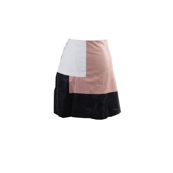 City Chic Plus Size Black Pink Colorblocked Faux-Leather Skirt W-S - 16w-s e278768b078d