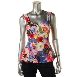 Guess Womens Lace Trim Floral Print Tank Top