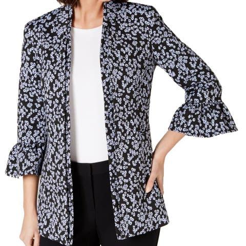 Nine West Women's Jacket Blue Size 10 Open Front Floral Ruffle Sleeve