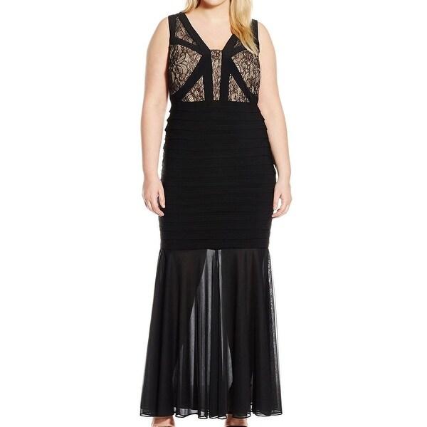 Xscape NEW Black Womens Size 18W Plus Lace V-Neck Mermaid Gown Dress ...