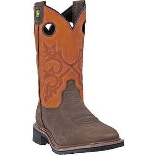 "John Deere Western Boots Mens Cowboy 11"" R ST Square Brown"