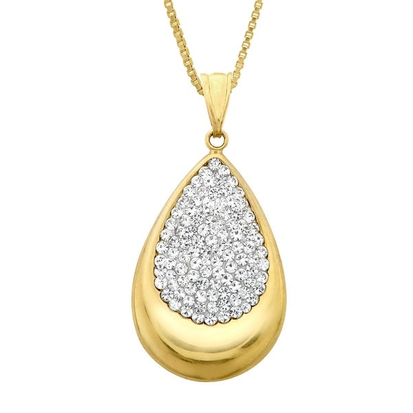 Crystaluxe Teardrop Pendant with Swarovski Crystals in 14K Gold-Plated Sterling Silver