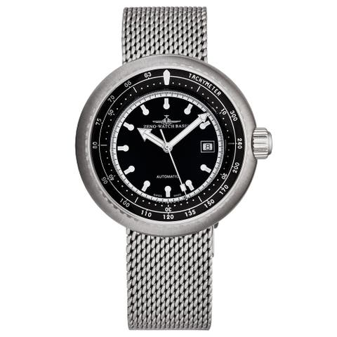 Zeno Men's 500-2824-I1M 'Divers' Black Dial Stainless Steel Mesh Automatic Watch