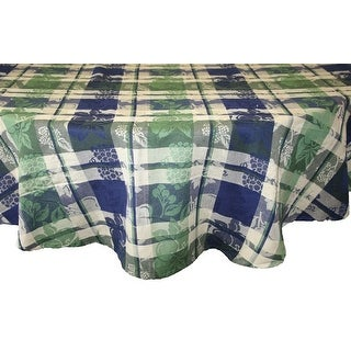 Blue Green Cotton Floral Plaid Jacquard Grapevine Tablecloth Rectangle Square Round & Towel