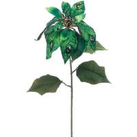 "30"" Regal Peacock Blue and Green Glitter and Jeweled Poinsettia Flower Artificial Craft Pick"