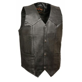 Mens Classic Leather Snap Front Biker Vest