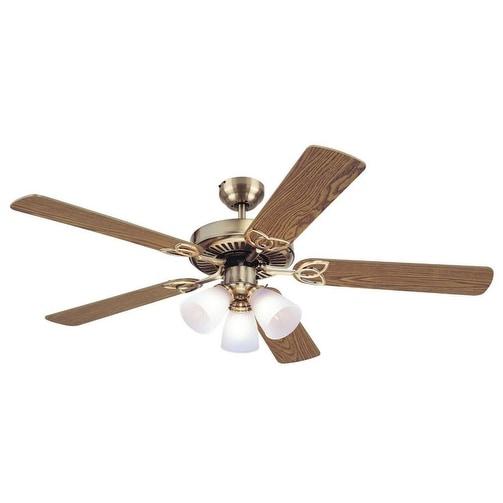 """Westinghouse 78042-6548 Vintage Ceiling Fan, 52"""", Antique Brass"""