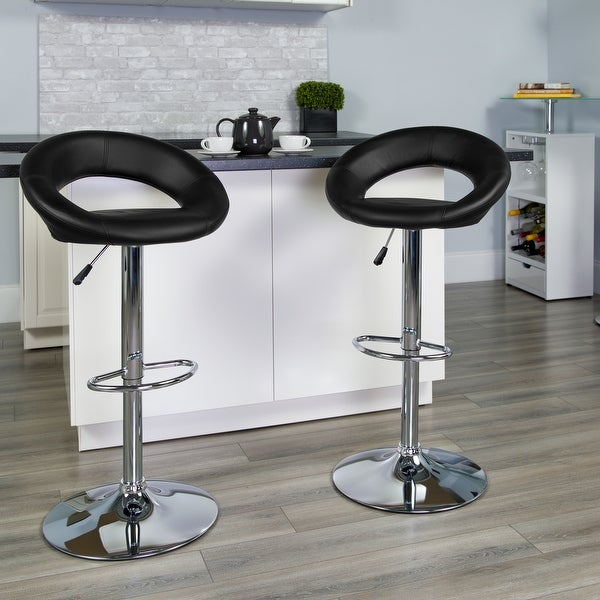 "2 Pack Contemporary Vinyl Rounded Orbit-Style Back Adjustable Height Barstool - 21.5""W x 21.5""D x 32"" - 40.75""H. Opens flyout."