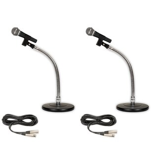 Podium Pro 2 PP58 Dynamic Microphones, Cables with Tabletop Gooseneck Stands and Clamp Clips PMS3MC1-2S