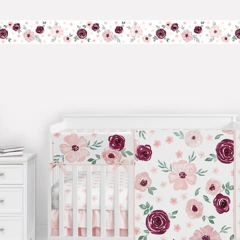 Burgundy and Pink Watercolor Floral Wallpaper Wall Border - Blush Maroon Wine Rose Green and White Shabby Chic Flower Farmhouse