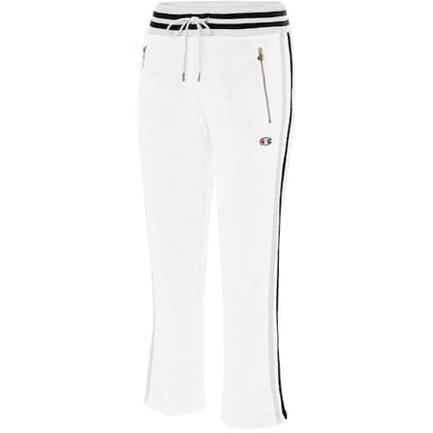 Champion Women's Slim Varsity-Stripe Warm-Up Pants White Size Small