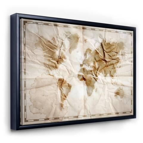 Designart 'World Map On Vintage Crumpled Paper' Vintage Framed Canvas Wall Art Print