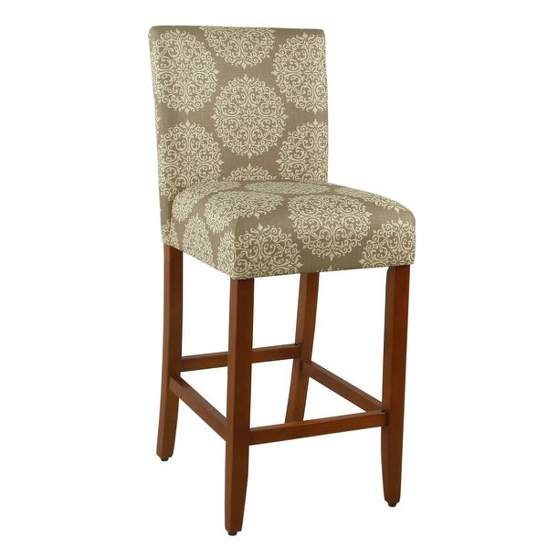 """HomePop Braeburn 29"""" barstool-Taupe and Cream Medallion - 29 inches. Opens flyout."""