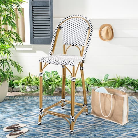 """SAFAVIEH Outdoor Zaid 30-inch Stacking Bar Stool (Fully Assembled) - 18.5"""" W x 22"""" L x 47"""" H"""