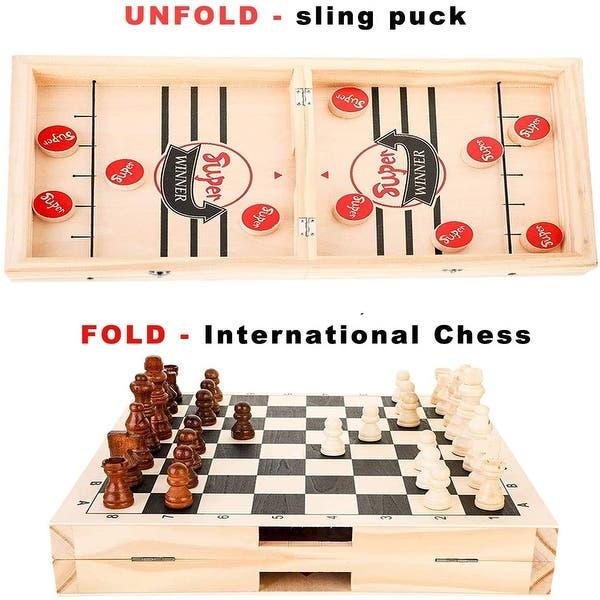 2 in 1 Fast Sling Puck Game Fliegendes Schach Tischspiel Geeignet f/ür Eltern-Kind-Interaktion 45x19x2,7 cm Siebwin Brettspiel Hockey Tisch Slingshot Brettspiel Spiel Sto/ßstange Schach