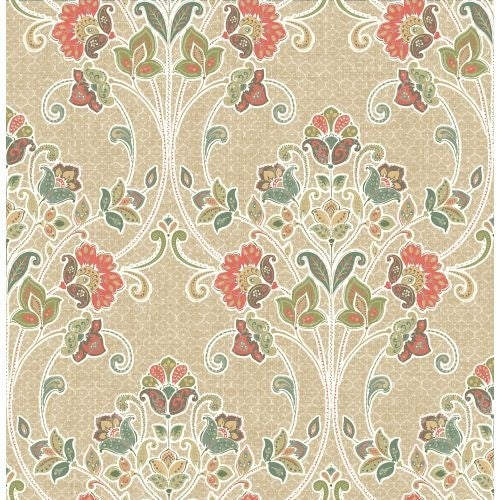 Brewster 1014-001808 Willow Coral Nouveau Floral Wallpaper