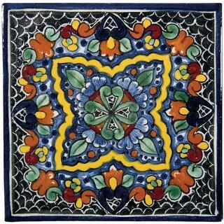 """Native Trails TVR0212 Talavera Tile 4"""" W x 4"""" H Hand Painted Quatrefoil Tile - N/A"""