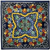 """Native Trails TVR0312 Talavera Tile 6"""" W x 6"""" H Hand Painted Quatrefoil Tile - N/A"""