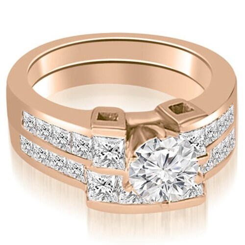 2.45 cttw. 14K Rose Gold Channel Set Diamond Princess and Round Cut Bridal Set