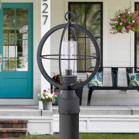 "Black 1-light 9.75"" Global Cage Outdoor Post Light"