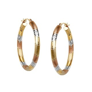 Three Stripe Hoop Earrings in 10K Two Tone Gold-Bonded Sterling Silver - three-tone