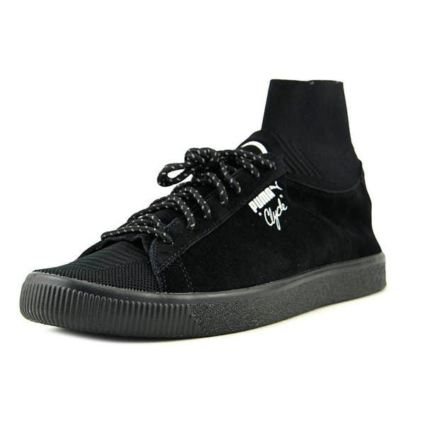 more photos 0e8bf a6b15 Shop Puma Clyde X Bkrw Men Round Toe Suede Black Sneakers ...