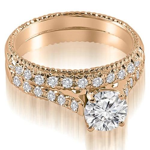 1.80 cttw. 14K Rose Gold Vintage Cathedral Round Cut Diamond Bridal Set