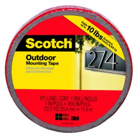 """Scotch 411-LONG/DC Outdoor Mounting Double Sided Tape, 1"""" x 450"""""""