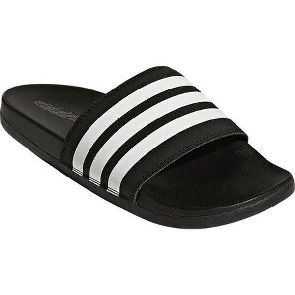 190e484cfee2 adidas Women  x27 s Adilette Cloudfoam Plus Stripes Slide Sandal Core  Black FTWR