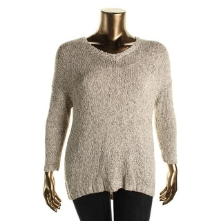 Lucky Brand Womens Marled V-Neck Tunic Sweater