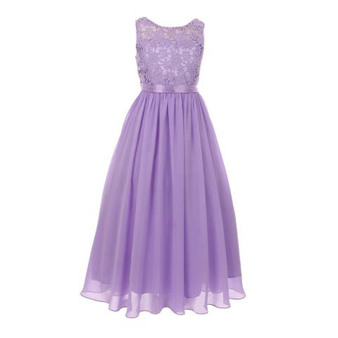 Girls Lilac Satin Sash 3D Lace Chiffon Stylish Junior Bridesmaid Dress