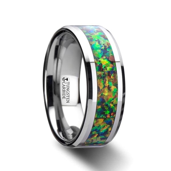 Ethereal Tungsten Carbide Ring With Blue Orange Opal Inlay