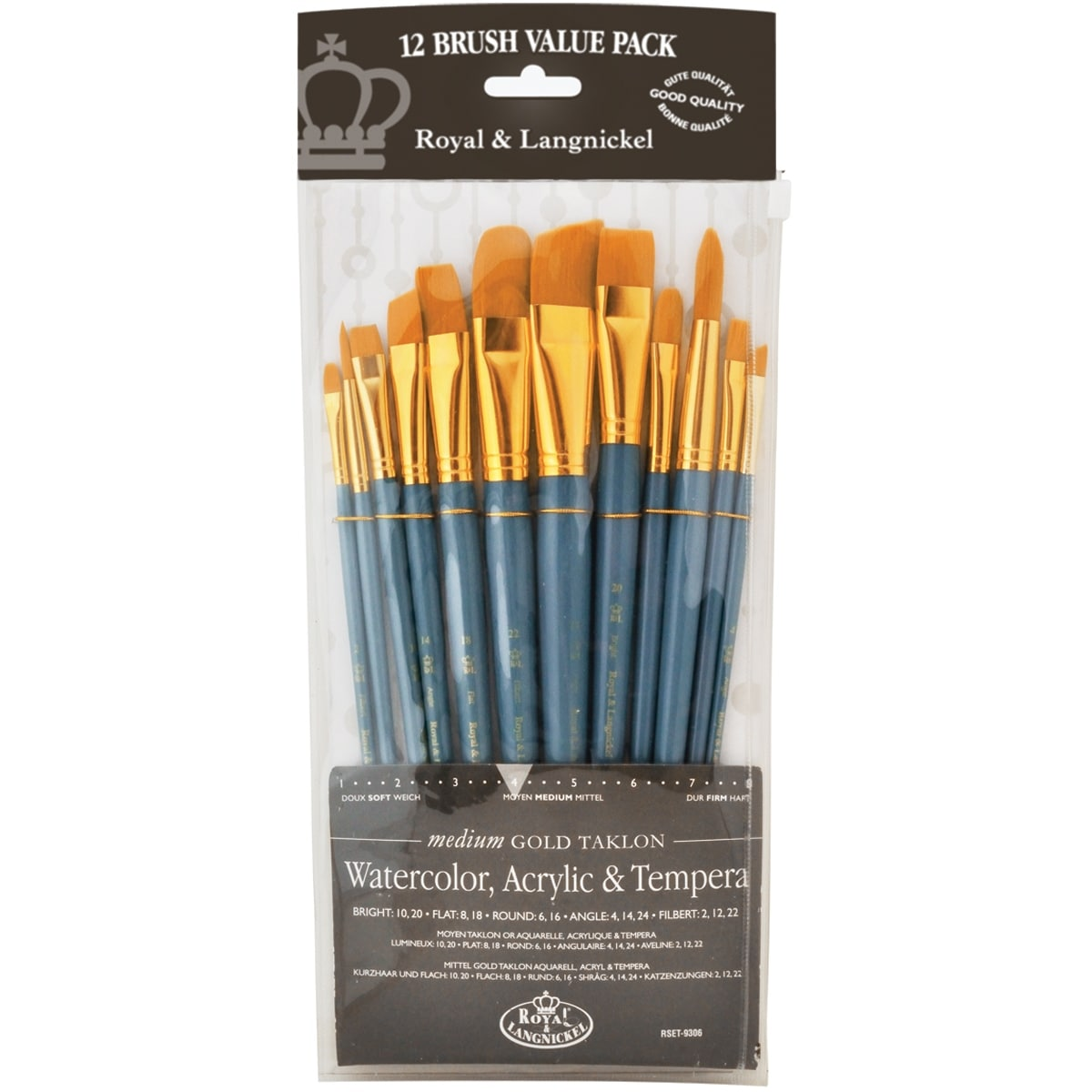 Liquitex Basics White Nylon Acrylic Brush Set 5//Pkg-Long Handle