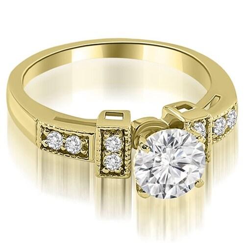 1.15 cttw. 14K Yellow Gold Antique Style Milgrain Round Diamond Engagement Ring