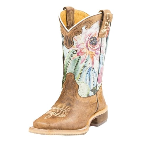 Tin Haul Western Boots Girls Cactus Brown
