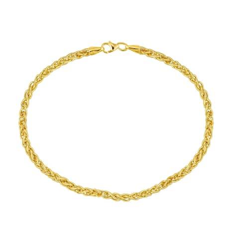 """Forever Last 10 K Gold Bonded over Silver yellow Chain 7.5"""" Bracelet"""