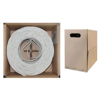 Offex Bulk Cat5e White Ethernet Cable, Solid, UTP (Unshielded Twisted Pair), Pullbox, 1000 foot
