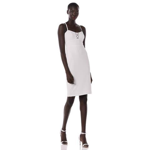 Bebe Womens Ivory Illusions White Pencil Dress Sheath
