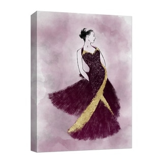 """PTM Images 9-124851  PTM Canvas Collection 10"""" x 8"""" - """"Black in Purple Dress"""" Giclee Women Art Print on Canvas"""