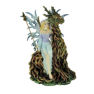 Blue Forest Fairy Sitting with Tree Dragon Spirit Statue - 11.25 X 7 X 4.25 inches