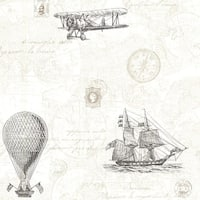 Brewster 2604-21244 Explorer Fog Antique Map Wallpaper