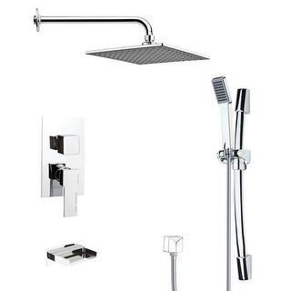 Nameeks TSR9111  Remer Shower Tub and Shower Trim Package with Multi Function Rain Shower head and Hand Shower - Chrome