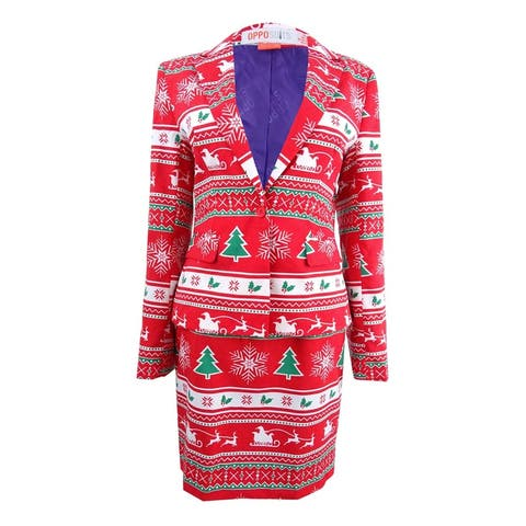 OppoSuits Women's One-Button Printed Holiday Skirt Suit (8, Winter Woman) - Winter Woman - 8