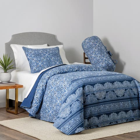 Lauren 4-piece Denim Print Full/Queen Comforter Set